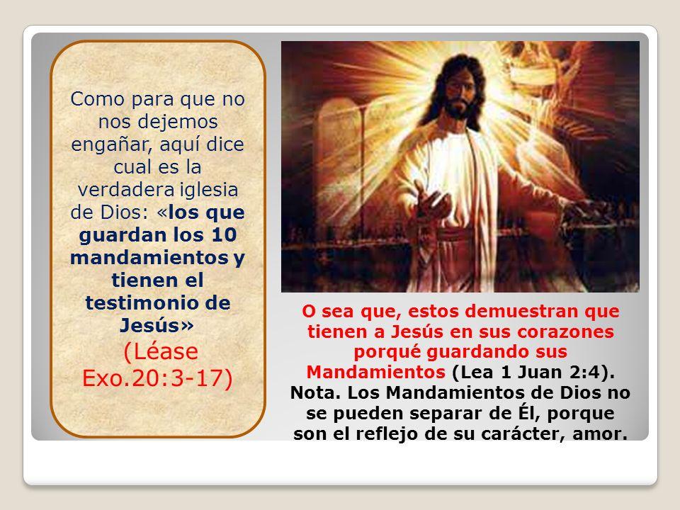 Como para que no nos dejemos engañar, aquí dice cual es la verdadera iglesia de Dios: «los que guardan los 10 mandamientos y tienen el testimonio de Jesús»