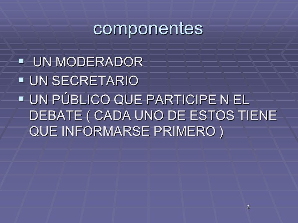 componentes UN MODERADOR UN SECRETARIO