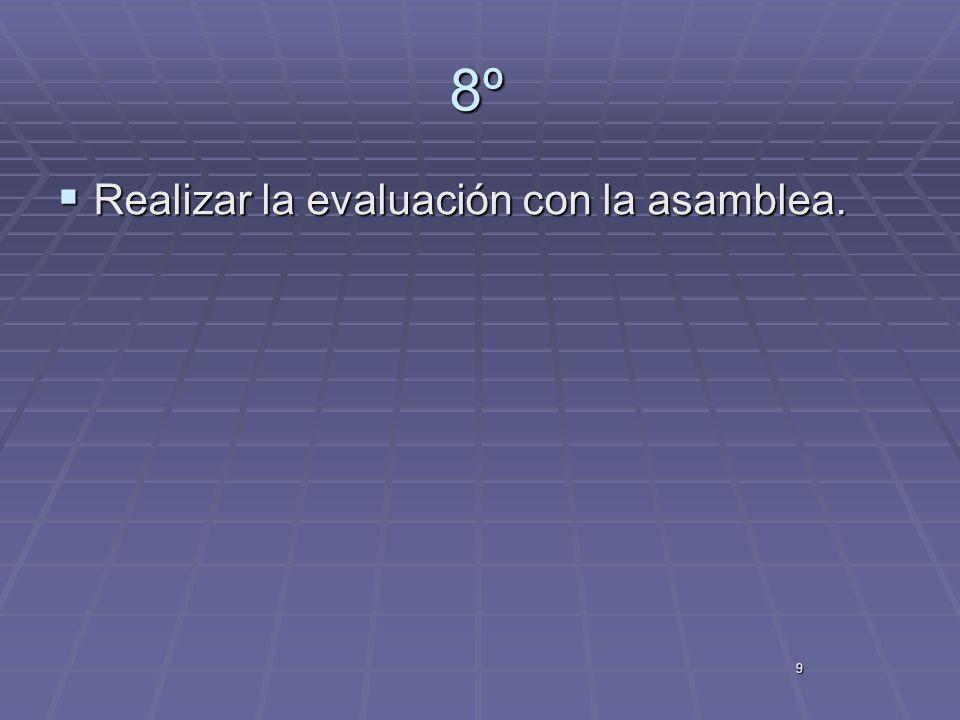 8º Realizar la evaluación con la asamblea. 9