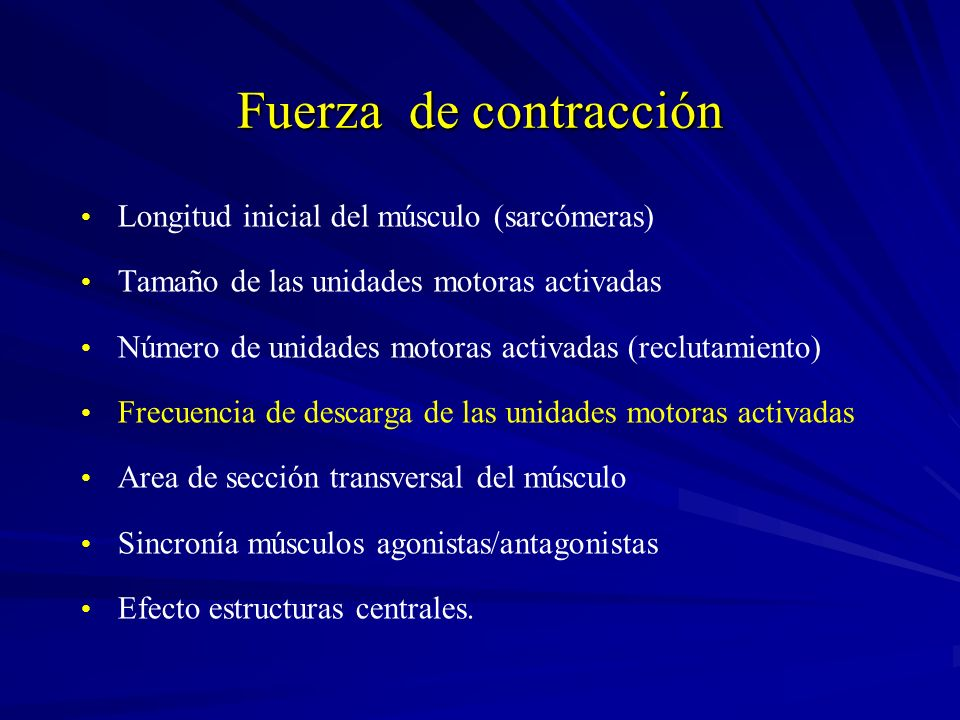 Fuerza de contracción Longitud inicial del músculo (sarcómeras)