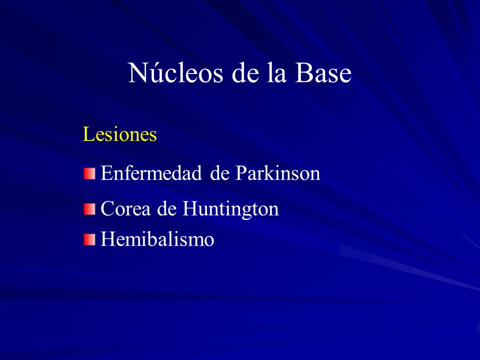 Núcleos de la Base Lesiones Enfermedad de Parkinson