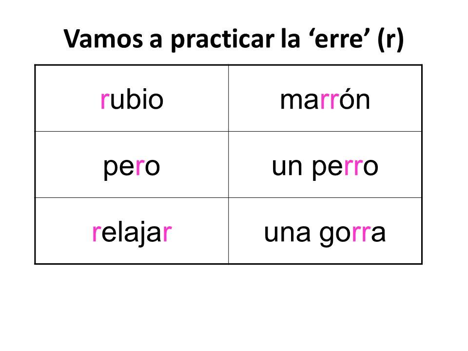 Vamos a practicar la 'erre' (r)