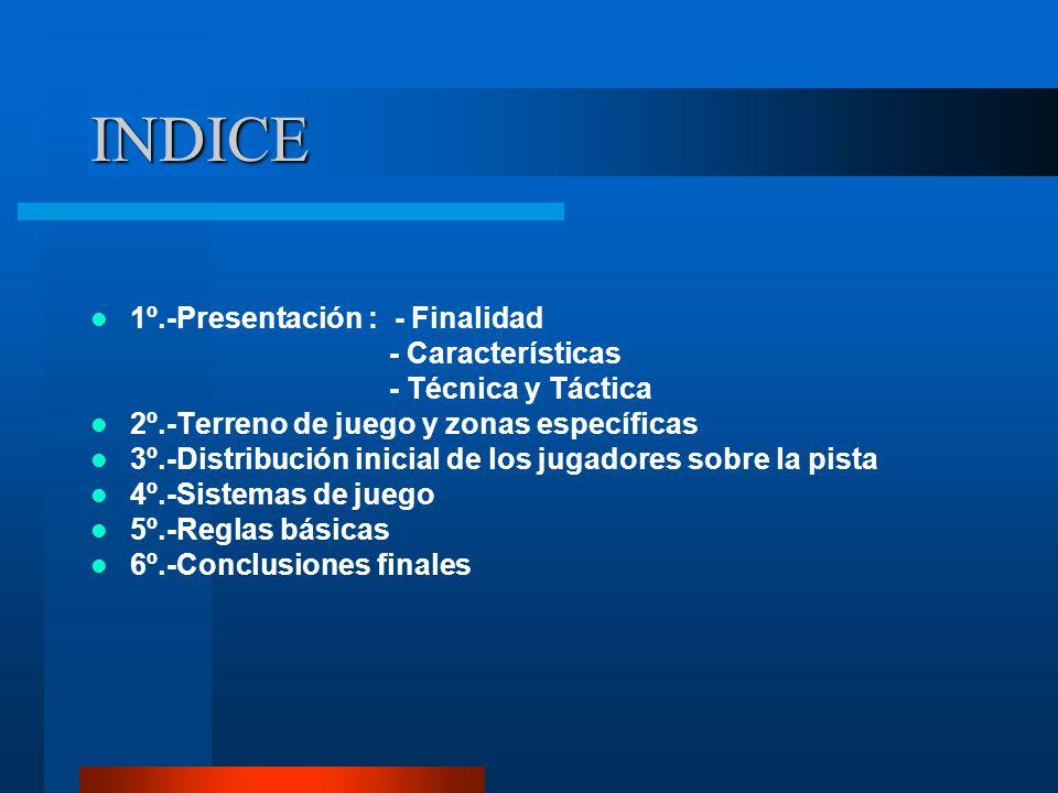 INDICE 1º.-Presentación : - Finalidad - Características
