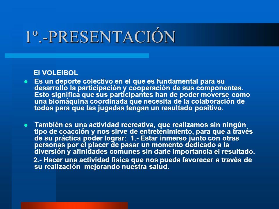 1º.-PRESENTACIÓN El VOLEIBOL