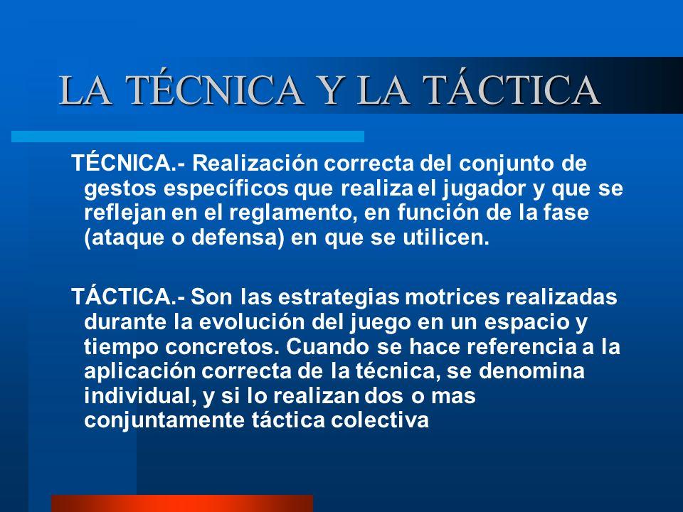 LA TÉCNICA Y LA TÁCTICA