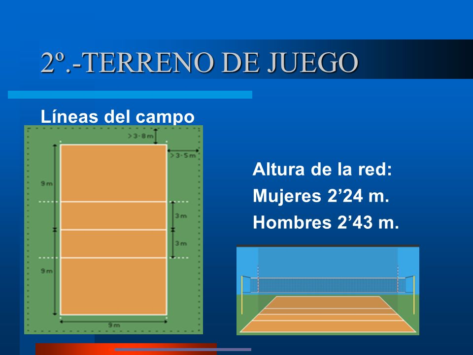 2º.-TERRENO DE JUEGO Líneas del campo Altura de la red: