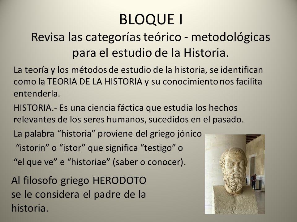 BLOQUE I Revisa las categorías teórico - metodológicas para el estudio de la Historia.