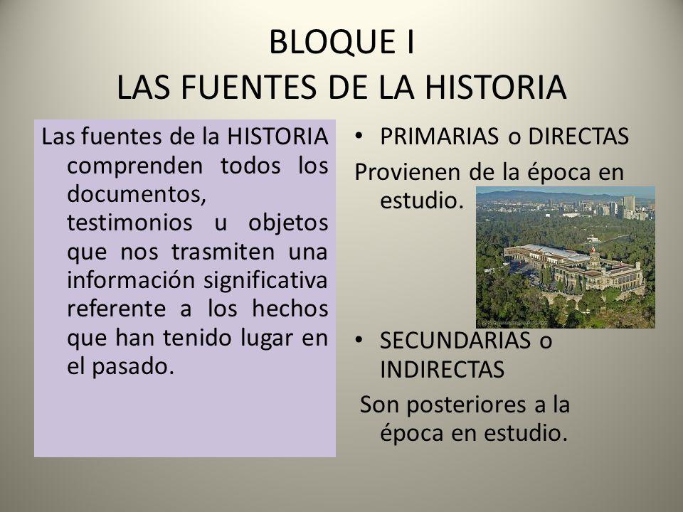BLOQUE I LAS FUENTES DE LA HISTORIA