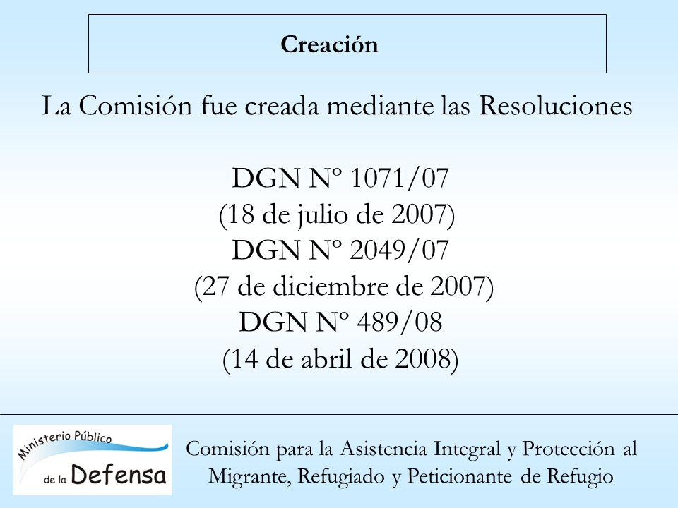 La Comisión fue creada mediante las Resoluciones