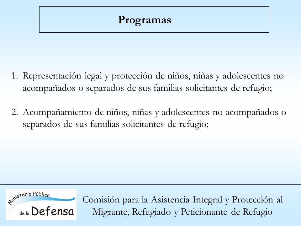 Programas Representación legal y protección de niños, niñas y adolescentes no acompañados o separados de sus familias solicitantes de refugio;