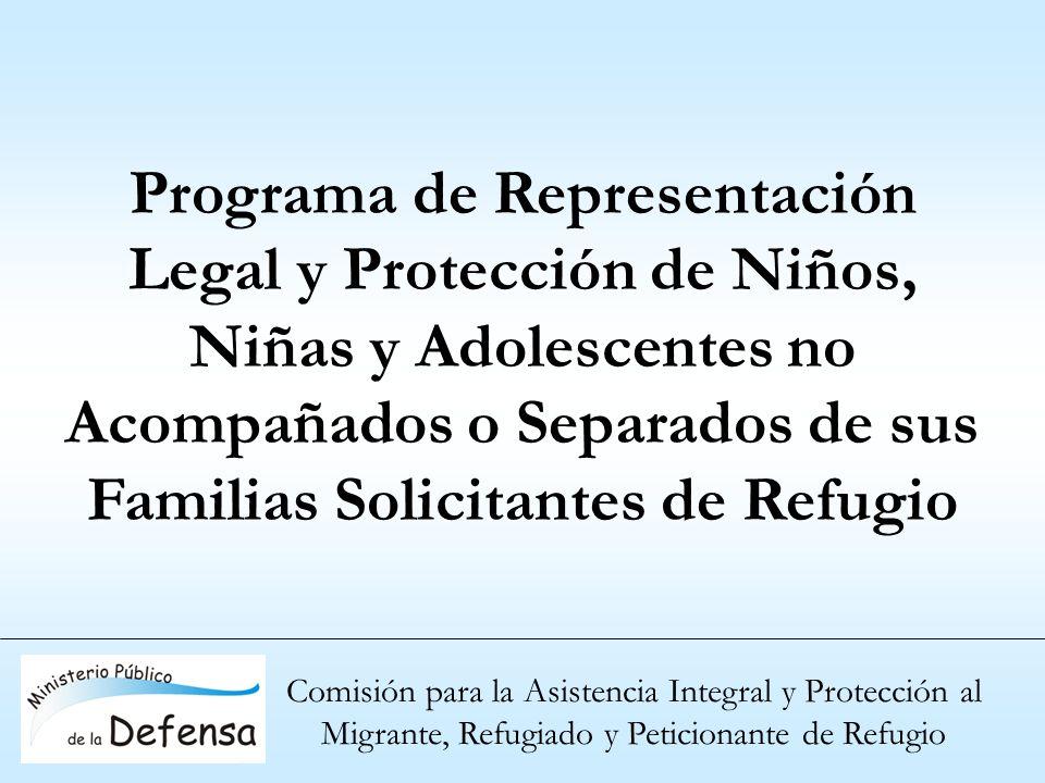 Programa de Representación Legal y Protección de Niños, Niñas y Adolescentes no Acompañados o Separados de sus Familias Solicitantes de Refugio