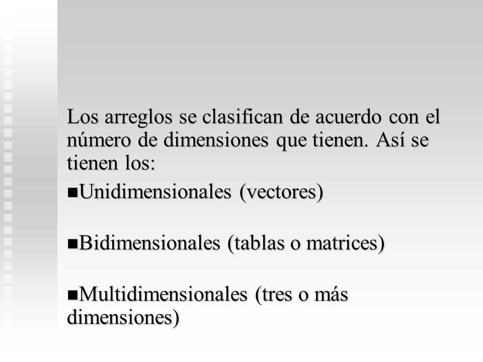 Los arreglos se clasifican de acuerdo con el número de dimensiones que tienen. Así se tienen los:
