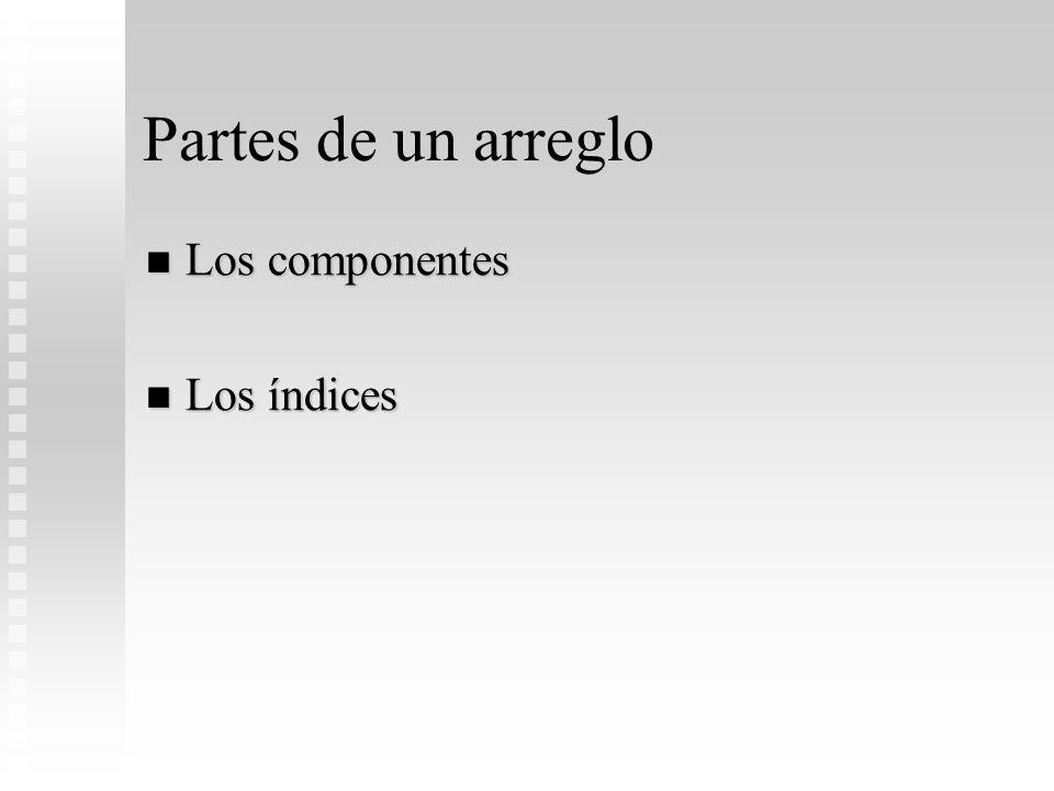 Partes de un arreglo Los componentes Los índices