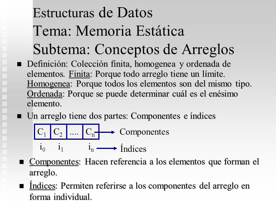 Estructuras de Datos Tema: Memoria Estática Subtema: Conceptos de Arreglos