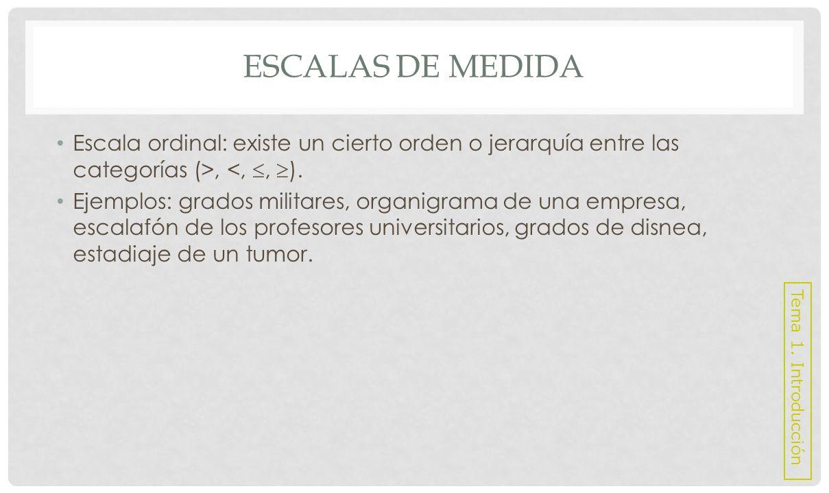 Escalas de medida Escala ordinal: existe un cierto orden o jerarquía entre las categorías (>, <, , ).