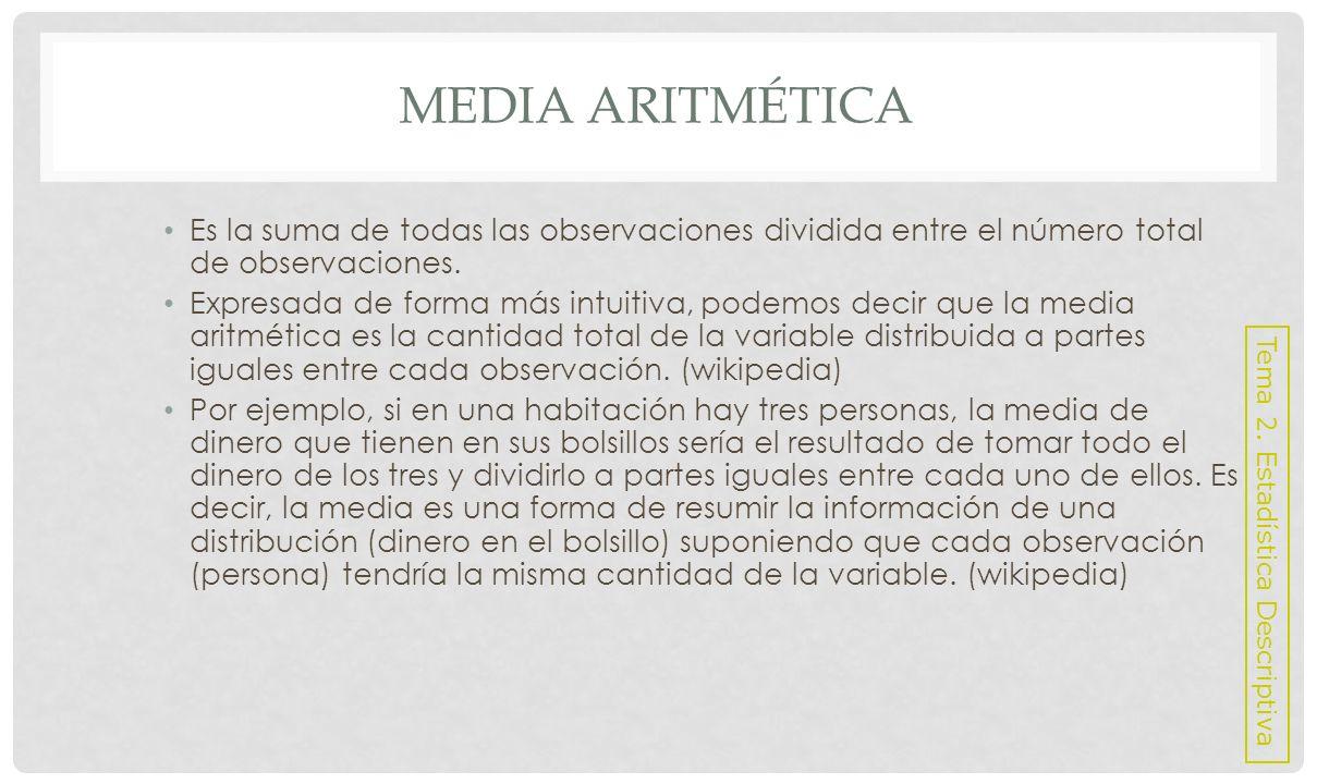 Media Aritmética Es la suma de todas las observaciones dividida entre el número total de observaciones.