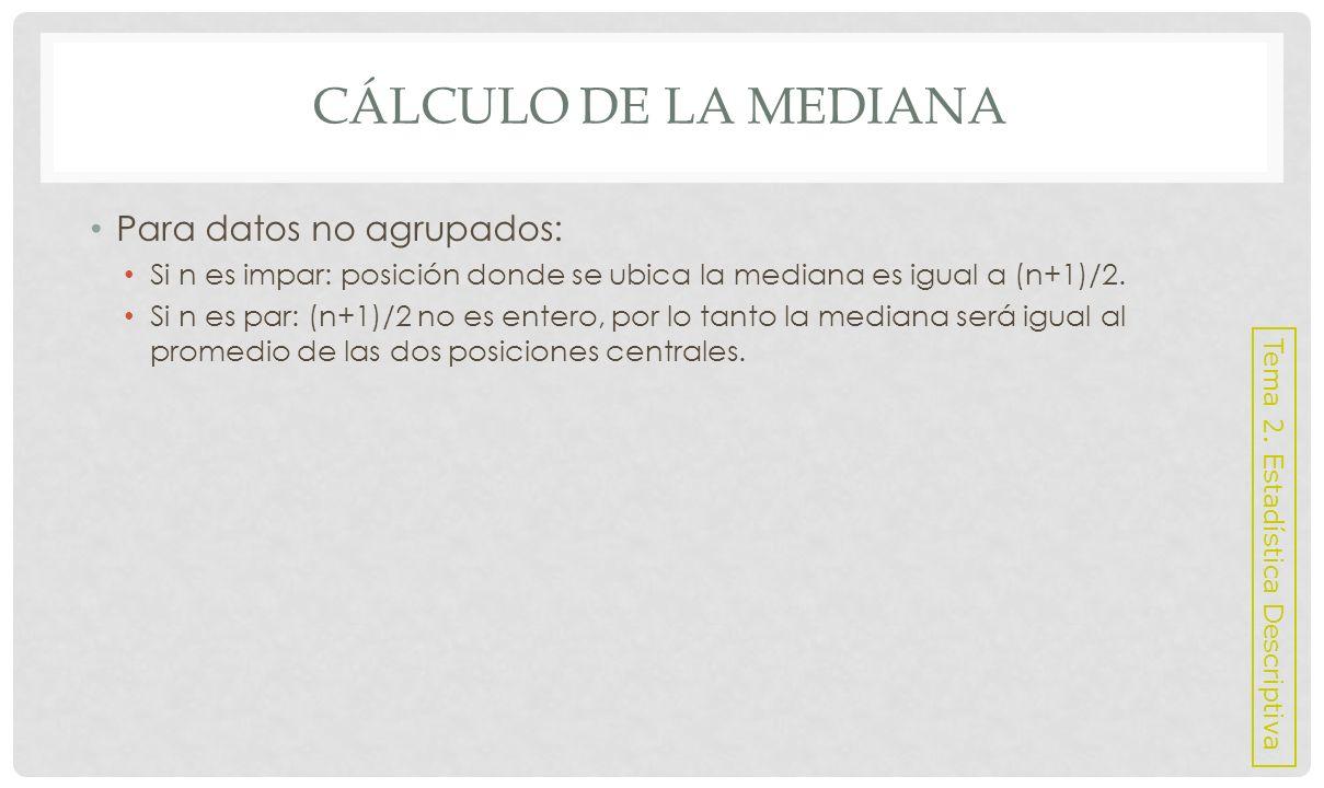 Cálculo de la mediana Para datos no agrupados:
