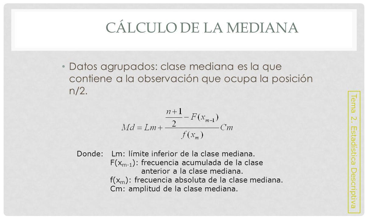Cálculo de la mediana Datos agrupados: clase mediana es la que contiene a la observación que ocupa la posición n/2.