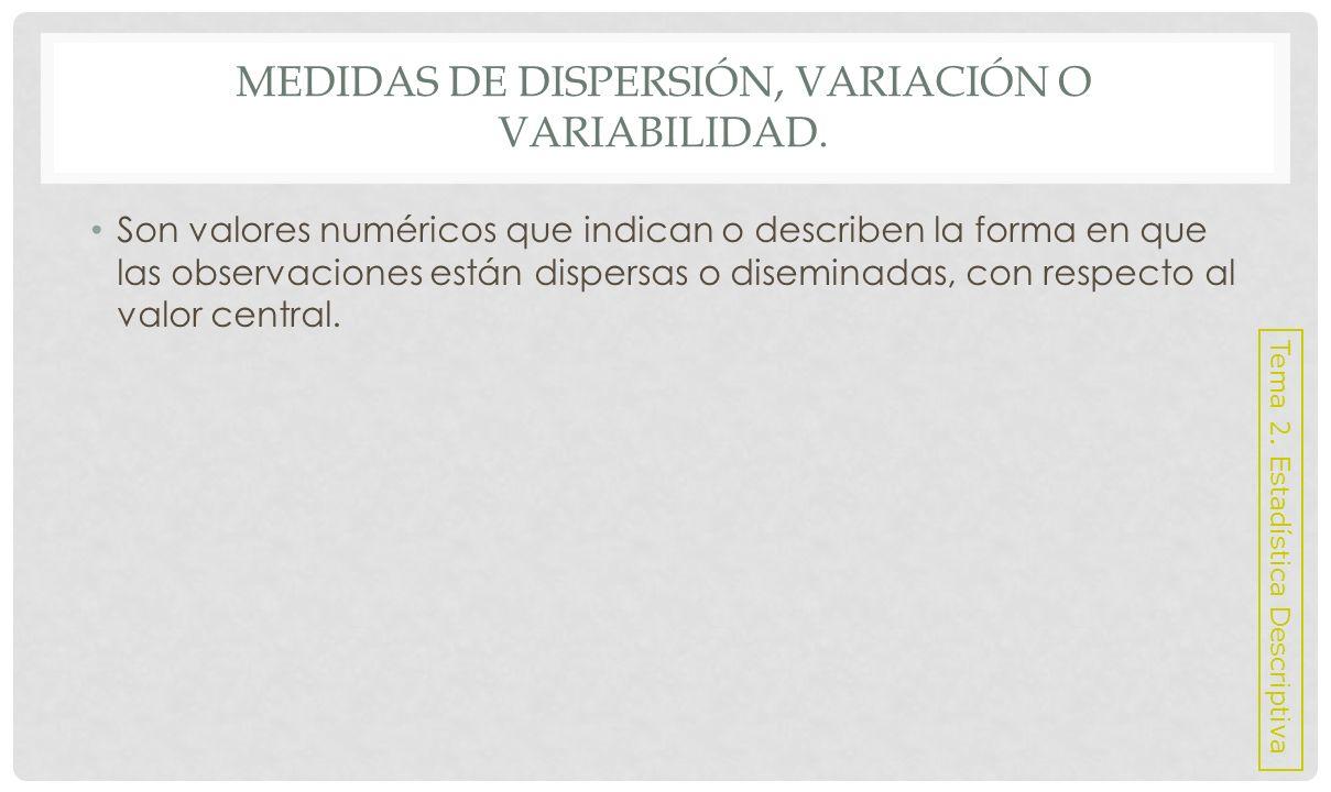 Medidas de dispersión, variación o variabilidad.