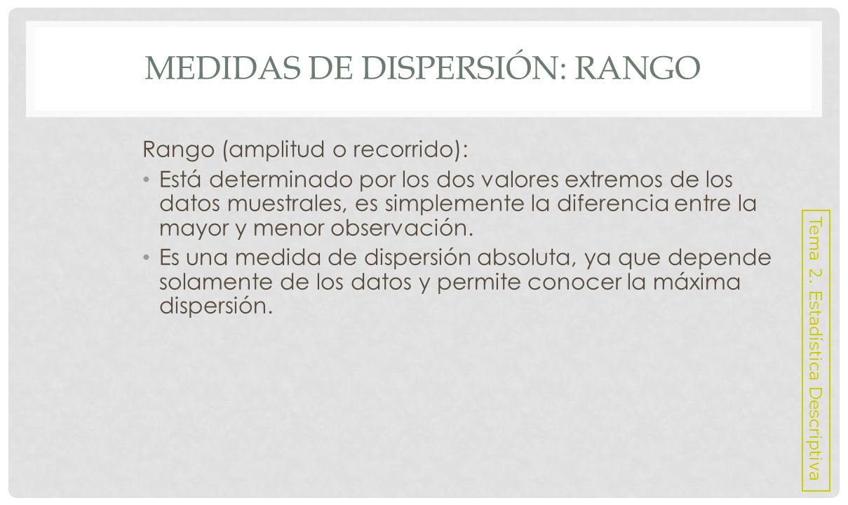 Medidas de dispersión: Rango