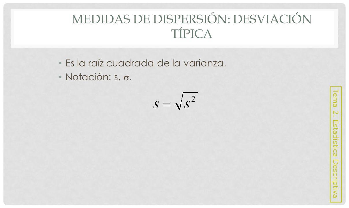 Medidas de dispersión: Desviación Típica