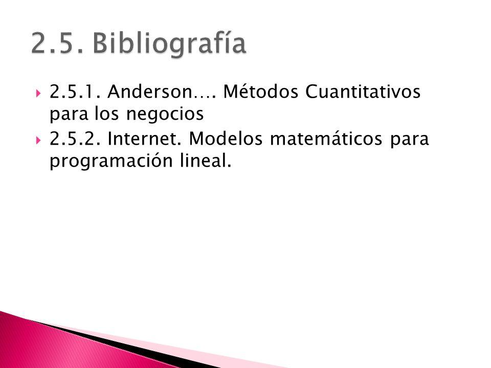 2.5. Bibliografía 2.5.1. Anderson…. Métodos Cuantitativos para los negocios.