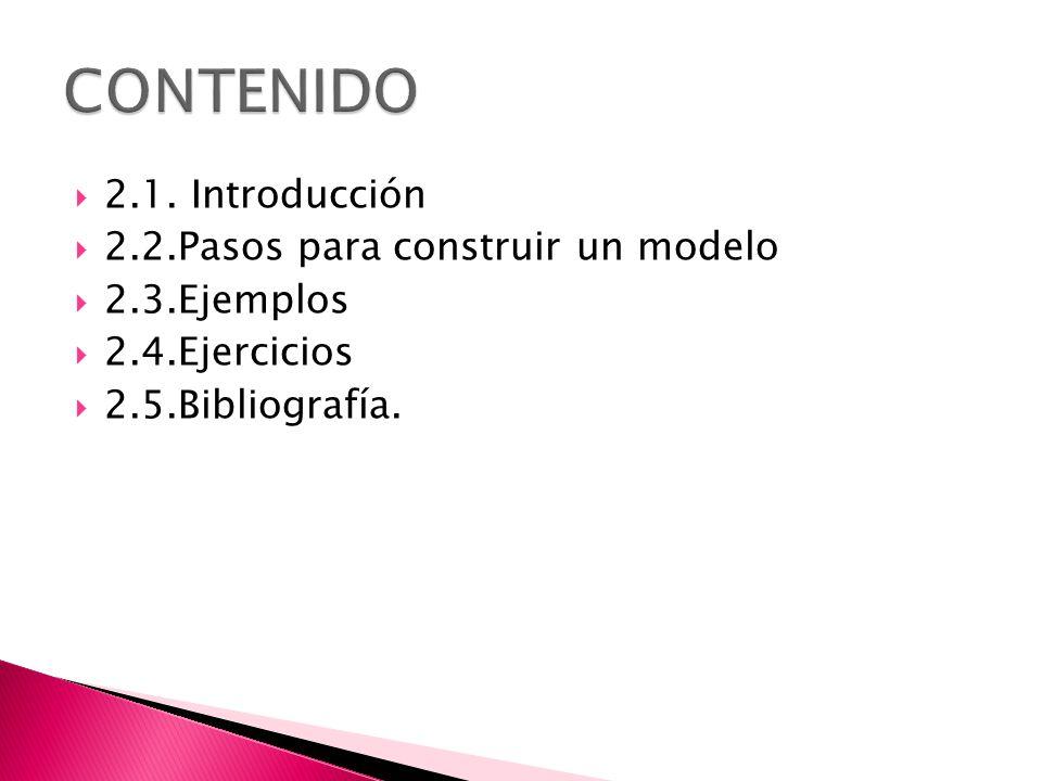CONTENIDO 2.1. Introducción 2.2.Pasos para construir un modelo