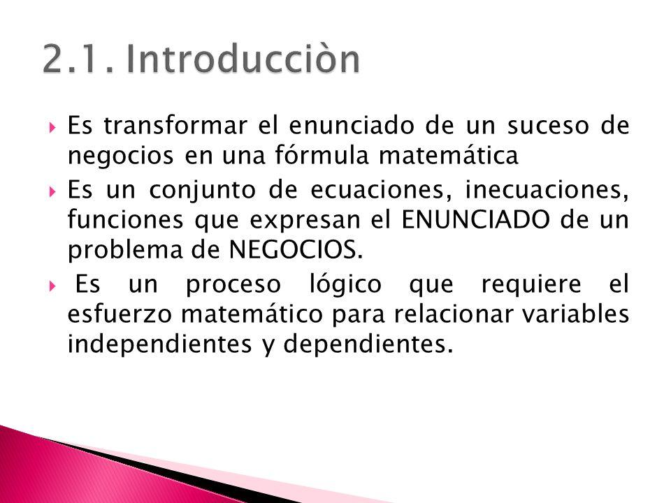 2.1. Introducciòn Es transformar el enunciado de un suceso de negocios en una fórmula matemática.