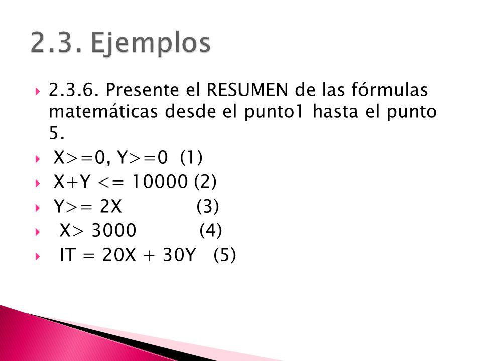 2.3. Ejemplos 2.3.6. Presente el RESUMEN de las fórmulas matemáticas desde el punto1 hasta el punto 5.