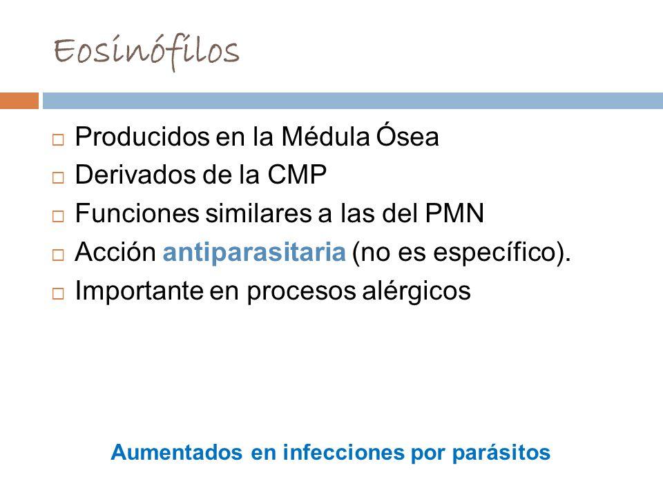 Aumentados en infecciones por parásitos