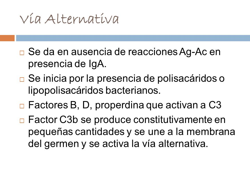 Vía AlternativaSe da en ausencia de reacciones Ag-Ac en presencia de IgA.