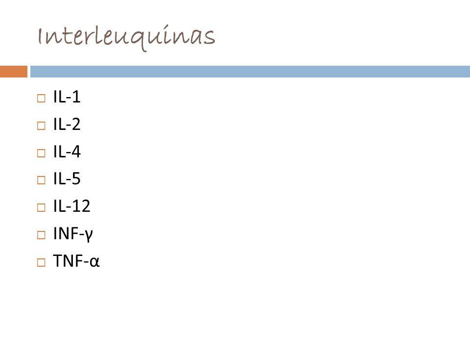 Interleuquinas IL-1 IL-2 IL-4 IL-5 IL-12 INF-γ TNF-α