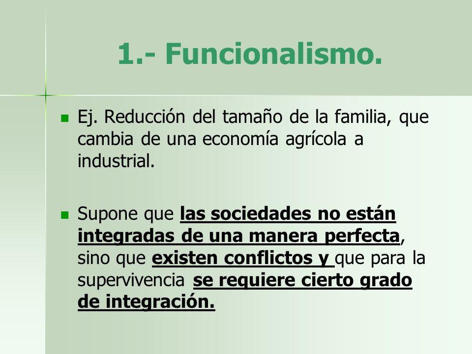 1.- Funcionalismo.Ej. Reducción del tamaño de la familia, que cambia de una economía agrícola a industrial.