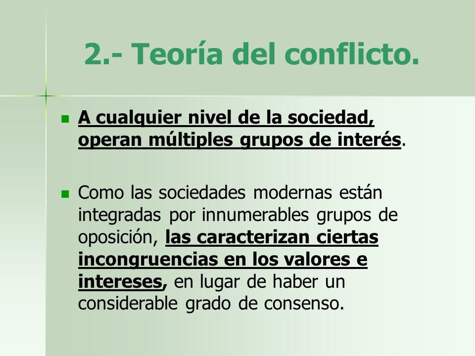 2.- Teoría del conflicto. A cualquier nivel de la sociedad, operan múltiples grupos de interés.