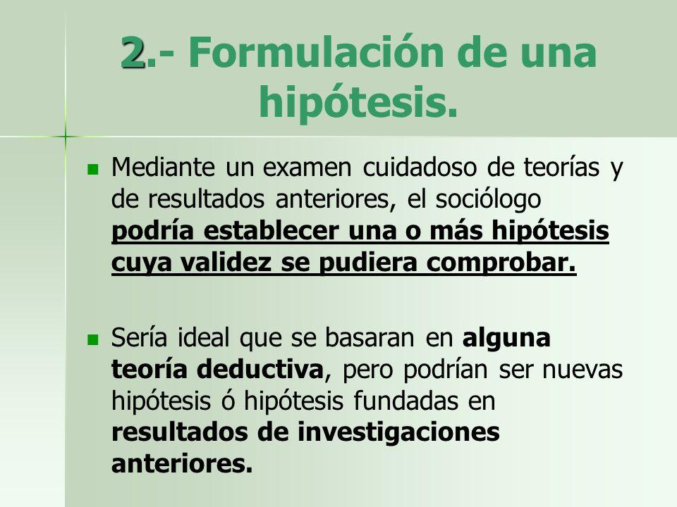 2.- Formulación de una hipótesis.