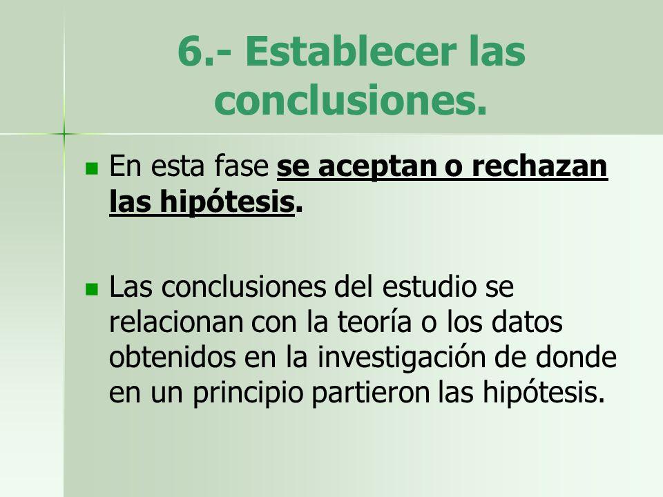 6.- Establecer las conclusiones.