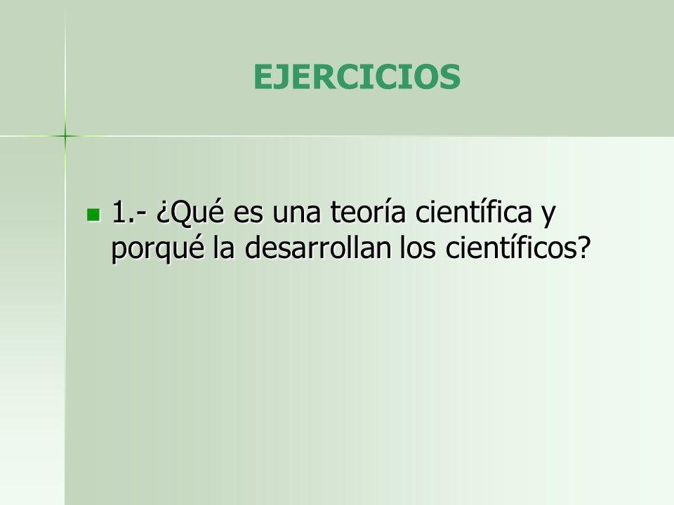 EJERCICIOS 1.- ¿Qué es una teoría científica y porqué la desarrollan los científicos