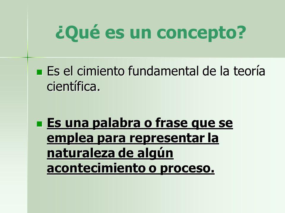 ¿Qué es un concepto Es el cimiento fundamental de la teoría científica.
