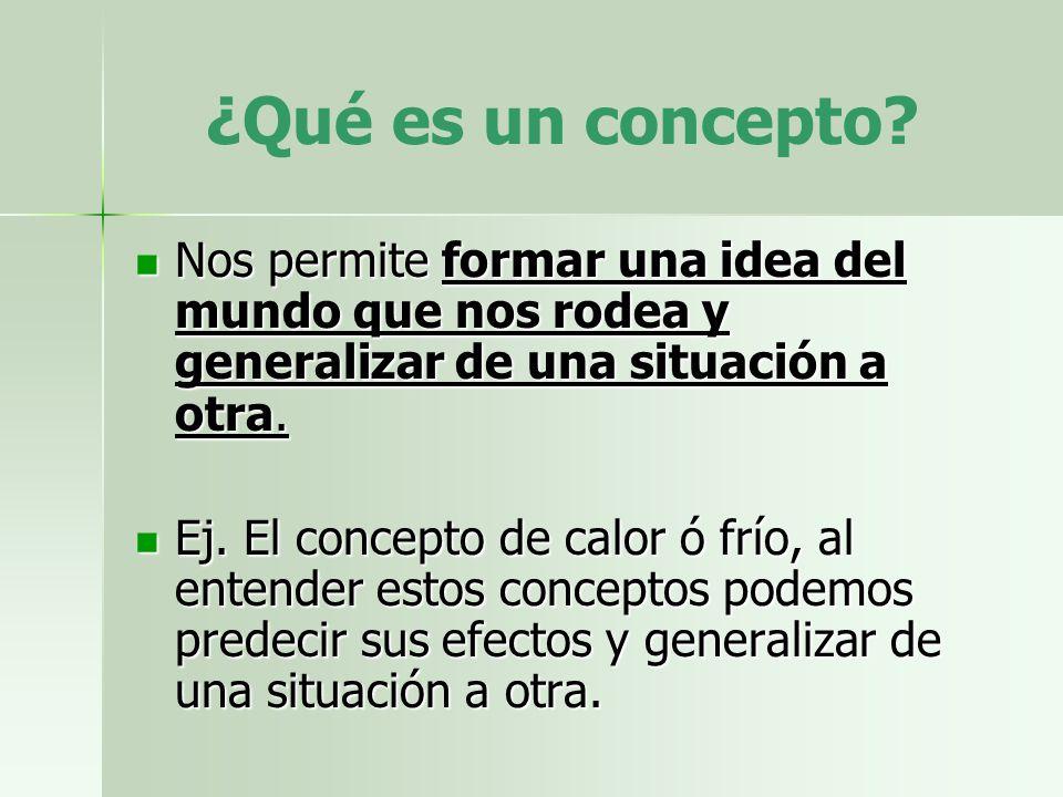 ¿Qué es un concepto Nos permite formar una idea del mundo que nos rodea y generalizar de una situación a otra.