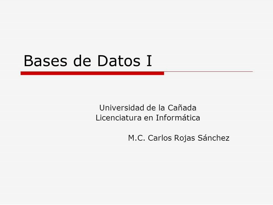 Bases de Datos I Universidad de la Cañada Licenciatura en Informática