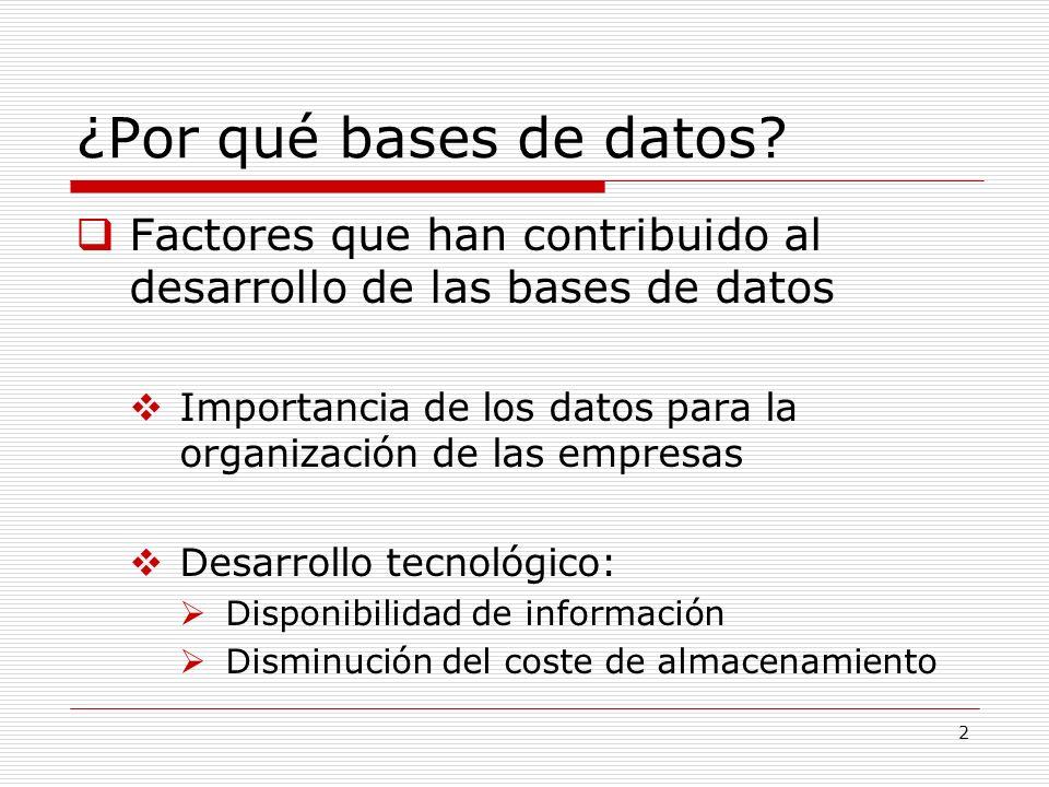 ¿Por qué bases de datos Factores que han contribuido al desarrollo de las bases de datos.