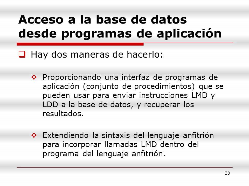 Acceso a la base de datos desde programas de aplicación