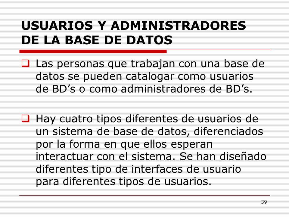 USUARIOS Y ADMINISTRADORES DE LA BASE DE DATOS