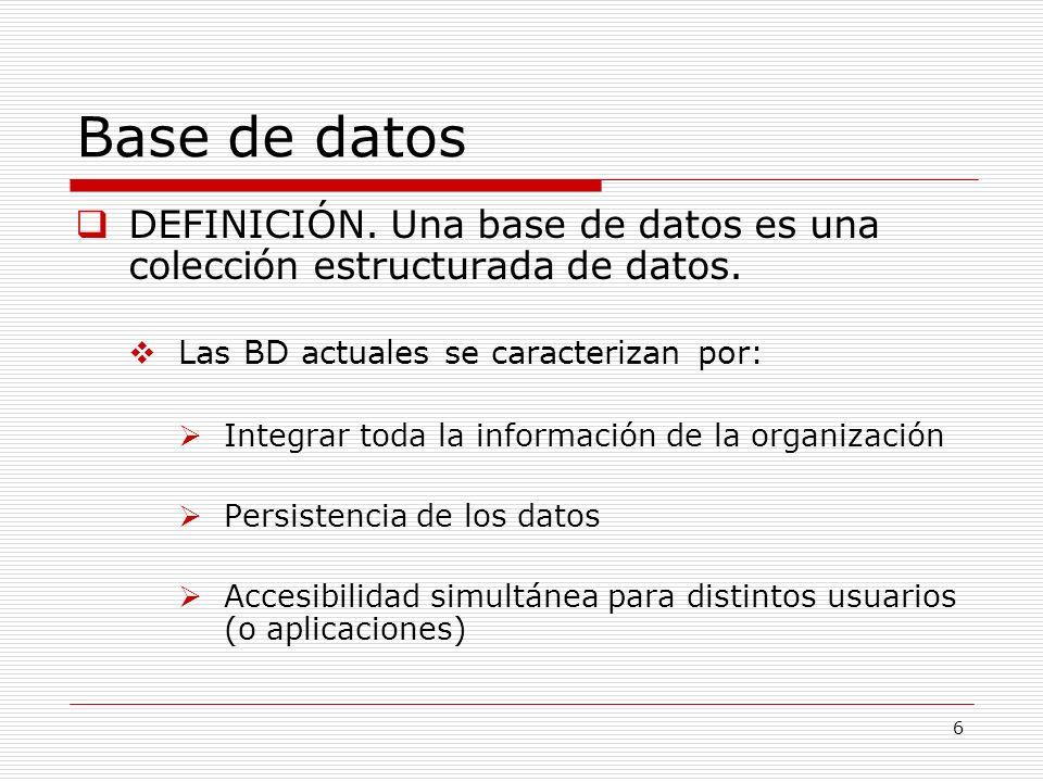 Base de datos DEFINICIÓN. Una base de datos es una colección estructurada de datos. Las BD actuales se caracterizan por: