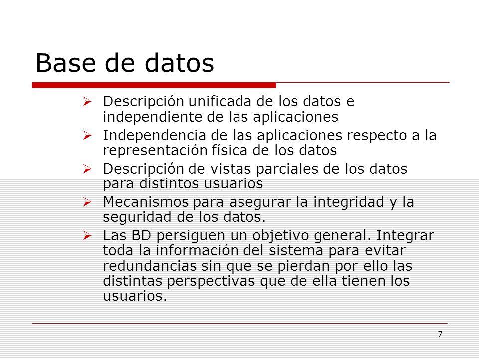 Base de datos Descripción unificada de los datos e independiente de las aplicaciones.