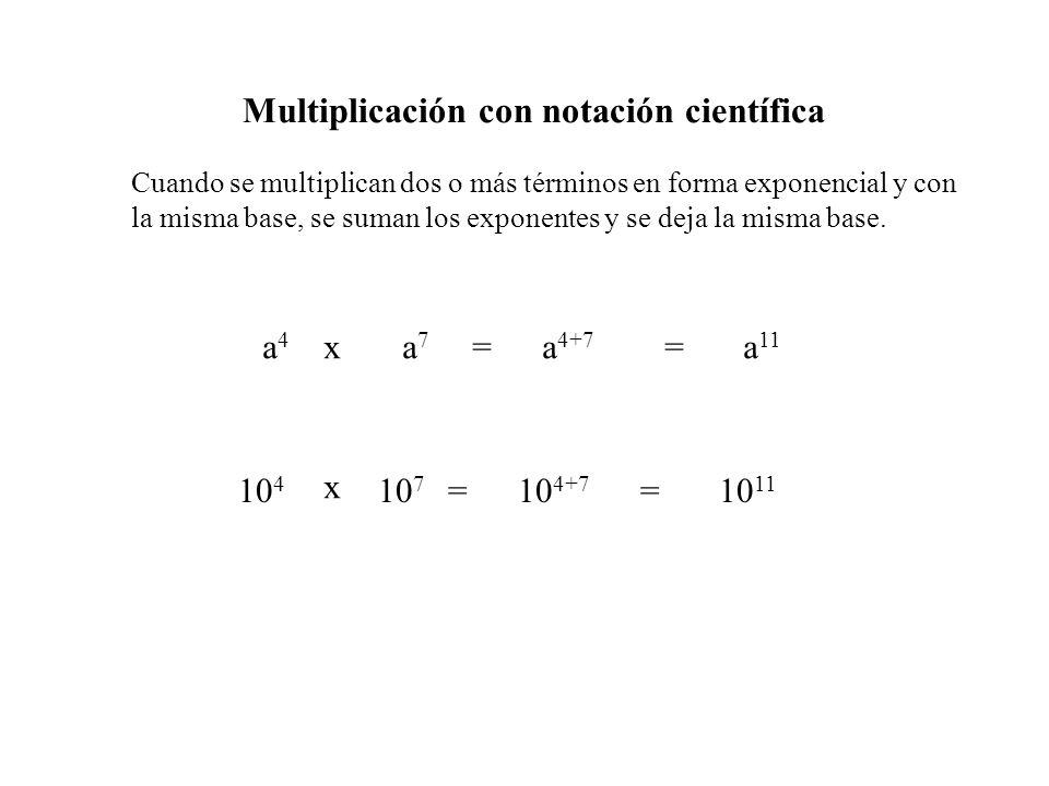 Multiplicación con notación científica