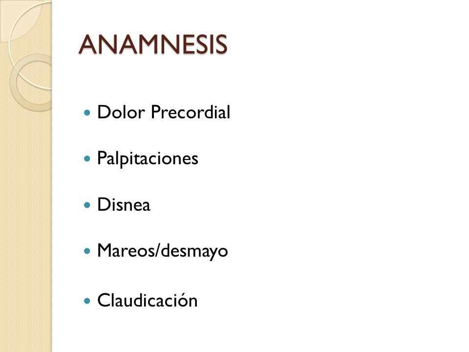ANAMNESIS Dolor Precordial Palpitaciones Disnea Mareos/desmayo