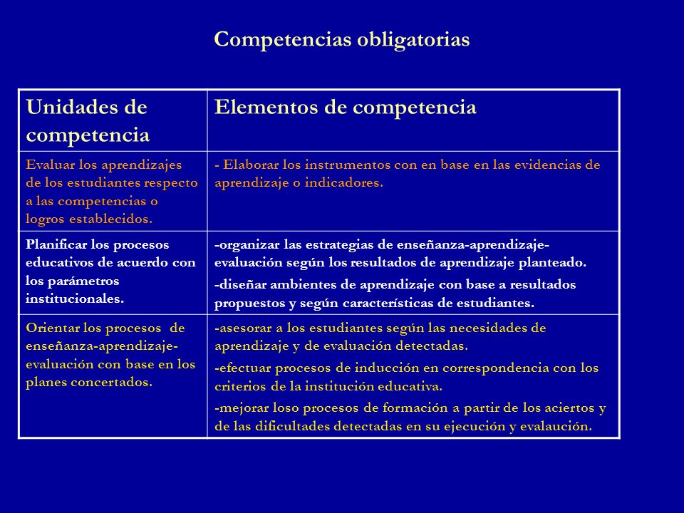 Competencias obligatorias