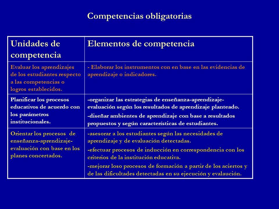 Competencias obligatorias