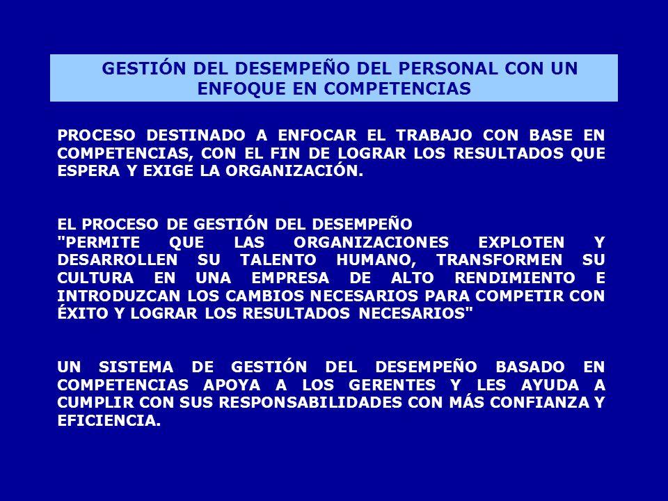 GESTIÓN DEL DESEMPEÑO DEL PERSONAL CON UN ENFOQUE EN COMPETENCIAS